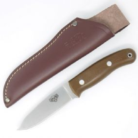 TBS Wolverine Bushcraft Knife - Brown G10 - Simple Sheath